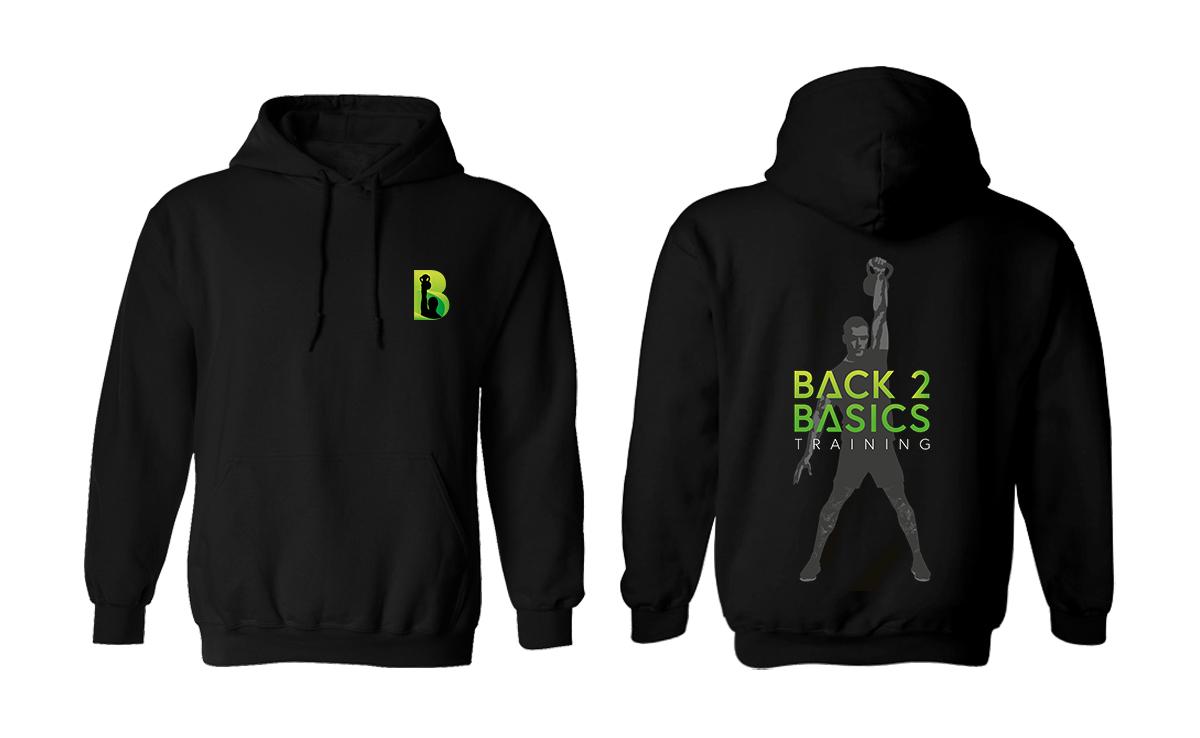 Back2Basics logo on hoodie